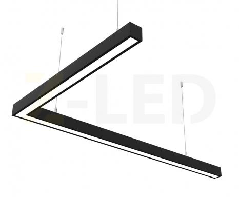 Светодиодный светильник  Z-LED 80ВТ L-образный черный (1000х600) LSNL-80b