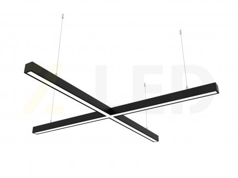 Светодиодный светильник  Z-LED 80ВТ x-образный (крест) черный (800х800) LSNKr-80b